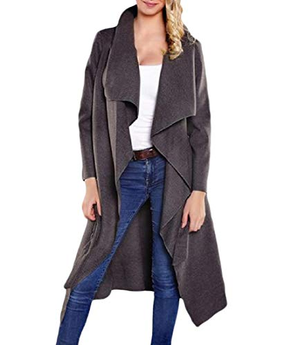Turn Belted Coat Mid Down Grey Women Long Trench Collar Howme Woolen Fashion gxfO45