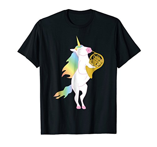 (Beautiful Unicorn Playing French Horn Musician T-Shirt)