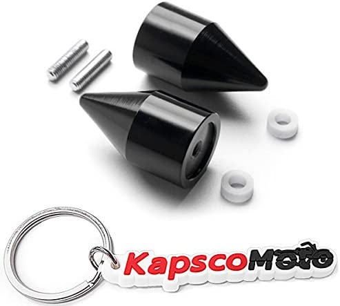 + KapscoMoto Keychain R6 1998-2012 Krator Black Spiked Bar Ends Weights Sliders FJR 1300 for Yamaha YZF R1