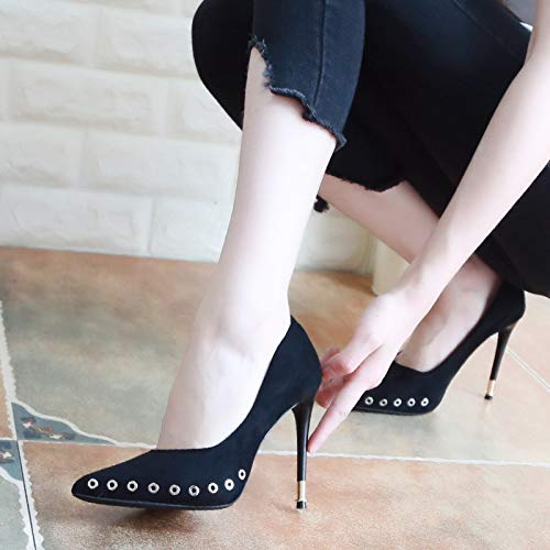 High Heels Autumn Thin Rivet 10Cm Nine Shoes Shoes Thirty Suede Black Head KPHY Sexy Pointy HgCx8awwqz