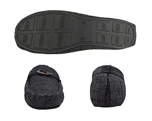 Men's Fur Slippers Black Plush Faux Lined Lining Wool Moccasin Blend Slip On Grey rqrg8