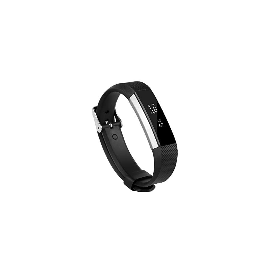 BeneStellar Newest Fitbit Alta HR and Alta Band with Metal Clasp, Silicone Replacement Band for Fitbit Alta HR and Alta (Classic) (Black 1 Pack)