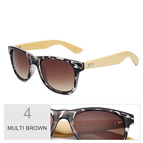 sol Gafas de color marrón el madera de de mujer sol de Multi TL de hombre Sunglasses por gafas Multi espejo real Brown bambú qt5vp