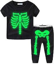 Mud Kingdom Glow in The Dark Skeleton Boys Pajamas Sets Short Sleeve Summer Black