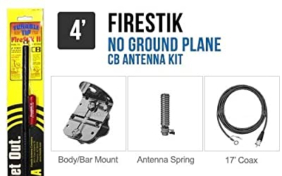 FireStik FG4648-B Four foot No-ground plane CB antenna kit (Black) from Firestik