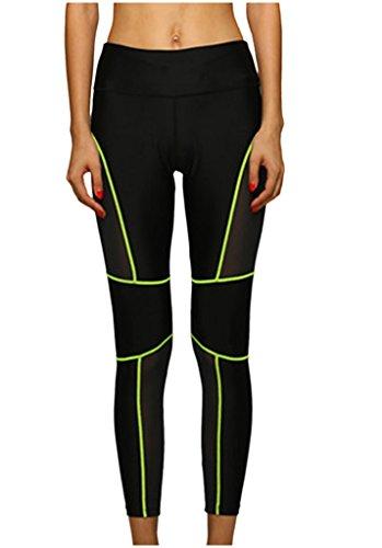 Lotsyle Women's Yoga Gym Athletic Pants Running Workout Leggings Spilicing Mesh White-S