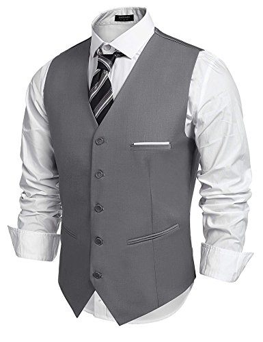 (Coofandy Mens 5 Button Down Business Suit Vests Waistcoat for Suit or Tuxedo,Gray,Medium ( Chest  43.3