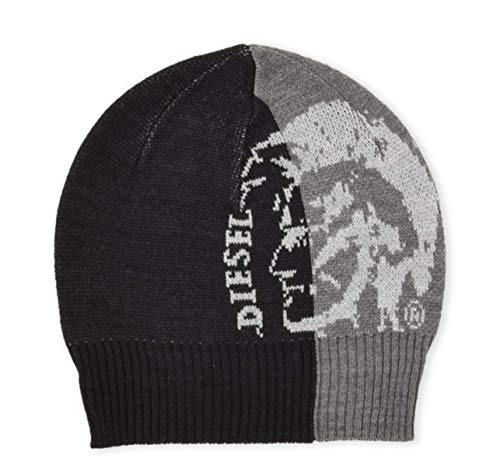 Logo Knit Cap - Diesel Men's Color Block Logo Knit Beanie Cap hat (Grey/Black)