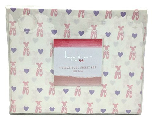 Nicole Miller Home Kids Pink Ballet Shoes and Purple Hearts Full Size Sheet Set