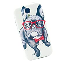 Cuitan High Quality Soft TPU Case Cover for Samsung Galaxy S4, Glasses Dog Pattern Design Back Cover Fashion Protective Case Shell Skin Protection Sleeve for Samsung Galaxy S4 i9500 - Glasses Dog