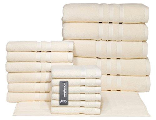Chortex Luxury Turkish Cotton 18 Piece Set, Set of 18 Towels, Cream by Chortex