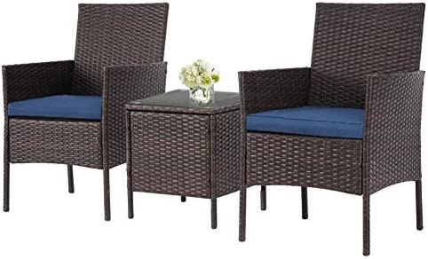 SOLAURA Outdoor 3-Piece Furniture Brown Wicker Bistro Set Conversation Chairs Glass-top Coffee Table Set Navy Blue