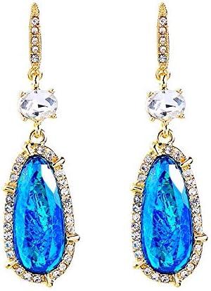 NOBRAND Pendientes De Mujer Pendientes Colgantes De Lágrima De Cristal De Resina Azul Únicos