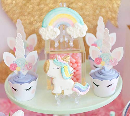 xo, Fetti Unicorn Cupcake Toppers + Wrappers - Set of 24 | Birthday Party Supplies, Unicorn Horn Cake Decoration + Baby… 6