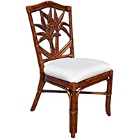 Hospitality Rattan 401-3370-TCA-S Cancun Palm Indoor Rattan & Wicker Side Chair, Leilani Rainforest