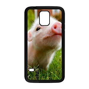 Diy Beautiful Baby Pig Custom Cover Phone Case for samsung galaxy s5 Black Shell Phone [Pattern-6]