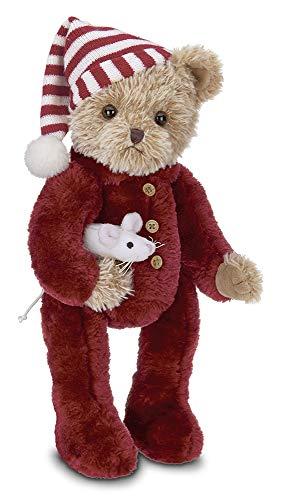 Bearington Sleepy and Squeek Christmas Plush Stuffed Animal Teddy Bear, 14 inches (Christmas Teddy Dressed Bear)
