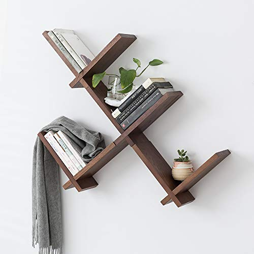 INMAN Wooden Reversed Criss Cross Intersecting Wall Mounted Self, 1 Set Storage Floating Display Rack Small Decor Book Shelves for Bedroom, Home, Bathroom, Kitchen, Office (Walnut, Update(Thicker))