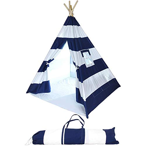 Kids Teepee Tent for Kids, No Toxic Chemicals Added, Carrying Case, Navy Play Tents Indoor for Boys & Girls, Large Enough Tipi for Toddler Dog Baby Boy Adult Children Adults Dogs, Childs Reading Nook ()