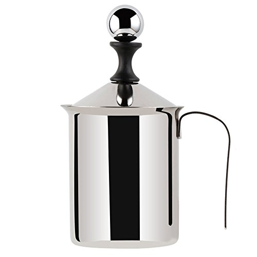 (Milk Frother - WeHome Stainless Steel Double Mesh Manual Milk Creamer Coffee Milk Foam Frothing Pitcher,Best Froth Pump Foamer Cup for Coffee Latte Cappuccino Hot Chocolate (13.5-Ounce/400ml))