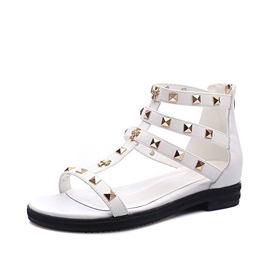 Allhqfashion Open Low Heels 38 White Toe Zipper Women's Sandals Solid rpTxqBr