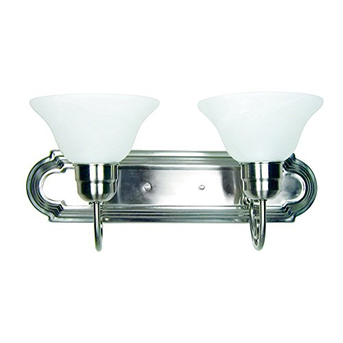 Y Decor L22-SN Modern, Transitional, Traditional 2 Light Bathroom Vanity Fixture Satin Nickel with White Glass By, Satin Nickel, Silver