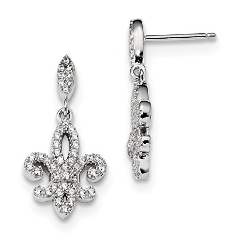 925 Sterling Silver and Cubic Zirconia Fleur De Lis Dangle Post Earrings (25mm x 12mm)