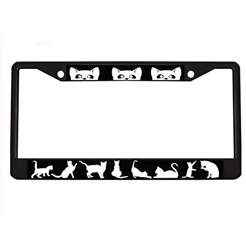 CAT black Metal Auto License Plate Frame Car Tag Holder for cheap