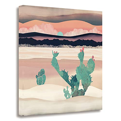 GEVES Desert Sunrise Cactus Wall Art Paintings Landscape Canvas Prints Pictures for Living Room Decoration Framed Ready to Hang ()