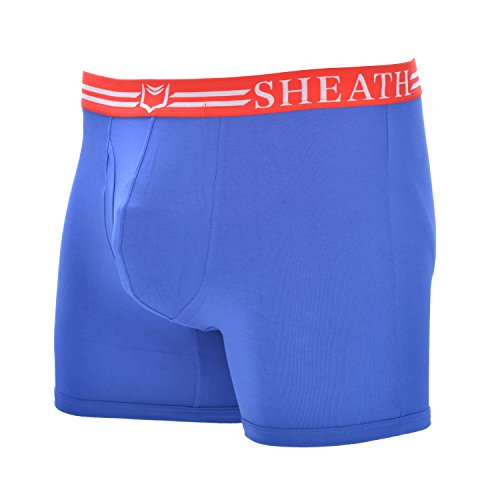 SHEATH Mens 4.0 Dual Pouch Boxer Underwear (Red and White) (XXL)