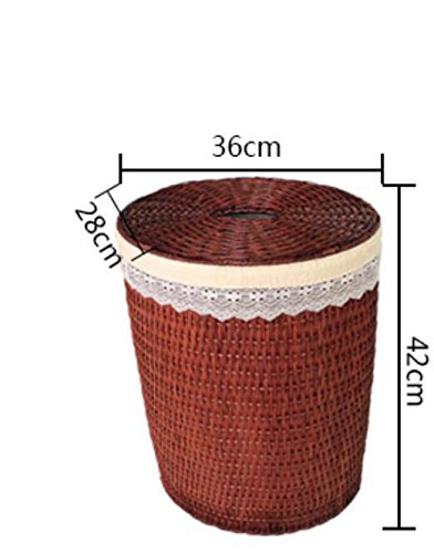YZL/ Storage box/rattan woven laundry basket/clothes baskets/rattan covered/dirty barrel hamper , small brown by KAIMENDAJI