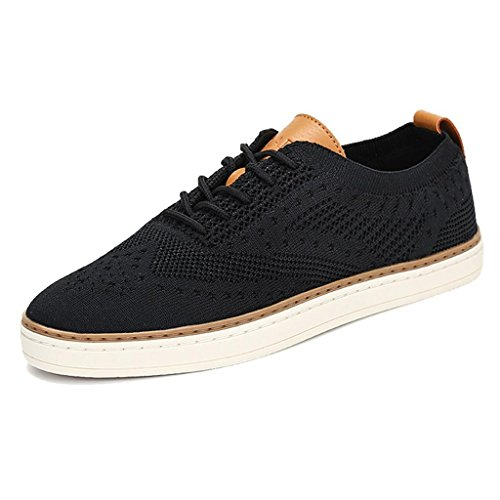 - TRULAND Women's Lace Up Elegant Low Top Knit Fashion Sneakers Tennis Flats Shoes Espadrille (6.5 D(M) US,Black)