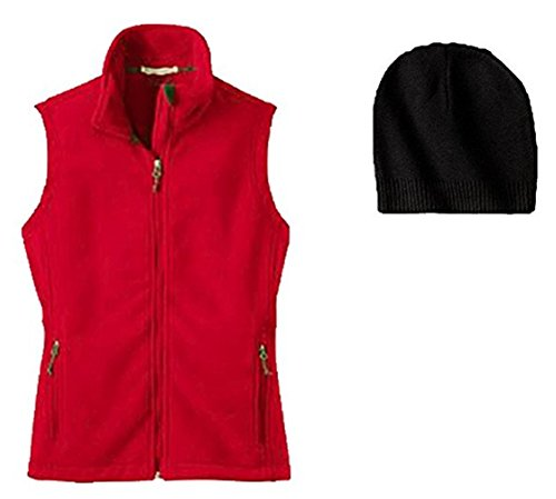 Ladies Vest Microfleece - Port Authority Ladies Microfleece Vest and Hat 2 Piece Set XL Red/Black