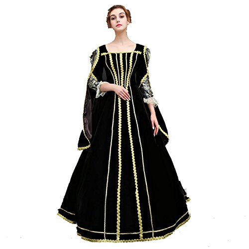 XNAIHUAFEI Women's Black Costumes 18th Century Evening Dress Size US (18th Century Costumes Gowns)