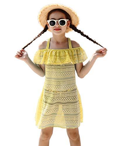 iDrawl Girls Swimming Cover Up, Beach Sundress Swimsuit Cover-up Yellow -