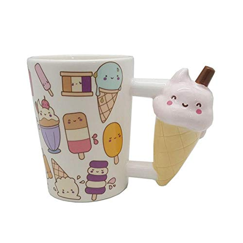 (Unique Coffee - 400ml Creative Cartoon Ice Cream Mug Coffee Tea Milk Stave Cups With Handle Novelty Gifts - Light Crown Nail Moulds Maker Piano Lemonade Maternity Freezer Lime Remover)