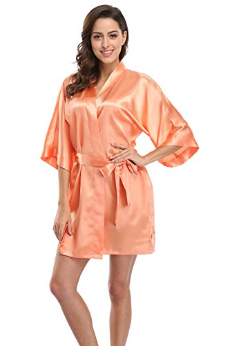 CostumeDeals KimonoDeals Women's dept Solid Color Soft Satin Short Kimono Robe for Wedding-Orange S -