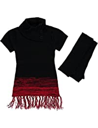 """Dollhouse Big Girls' """"Marbled Trim"""" Sweater with Gloves"""