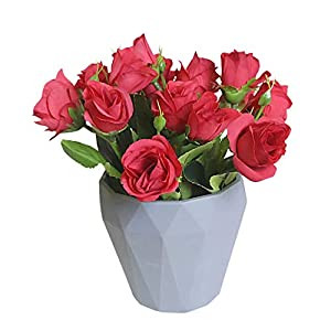 Riverbyland Table Centerpieces Decor Rose Artificial Flower in Vase Red 97