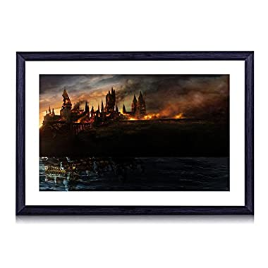 Hogwarts From Harry Potter - Art Print Black Wood Framed Wall Art Picture 20x14 inches Framed