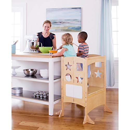 Guidecraft Classic Kitchen Helper Double with Keeper - Natural: Foldable, Extra-Wide Wooden Cooking Tower for Two Toddlers. Little Kids' Learning Step Stool G97326