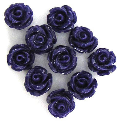 ShopForAllYou Design Making 10 6mm Synthetic Coral Carved Rose Flower Pendant Bead Purple (Flower Coral Carved Rose)