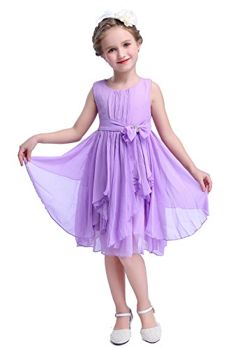 (Bow Dream Flower Girl Dress Bridesmaid Ruffled Chiffon Lavender)