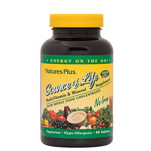 NaturesPlus Source of Life No Iron Tablets - 90 Vegetarian Tablets - Whole Food Multivitamin & Mineral Supplement, Energy & Immunity Booster- Gluten-Free - 30 - Iron 90 Tabs
