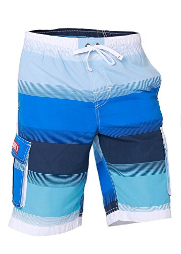 Boys Quick Dry Swim Trunks Cargo Water Shorts with Mesh Lining (Blues Stripes, -