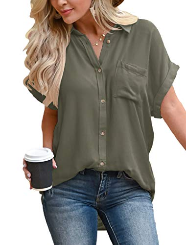 Hilltichu Women's Button Down Shirts Casual Short Sleeve Blouse