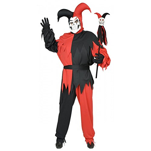 Wicked Chamber Jester Adult Costume Black and Red - Plus Size 1X