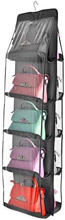 10ポケットクローゼットワードローブ収納ラック財布吊りオーガナイザークローゼット用リビングルームベッドルーム食器棚(グレー)