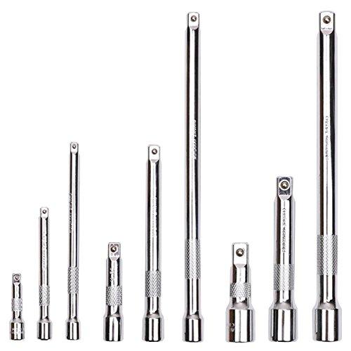 HORUSDY 9-Piece Extension Bar Set 1/4 3/8 1/2 Dr Chrome Vanadium (3/8 Dr Extension Set)