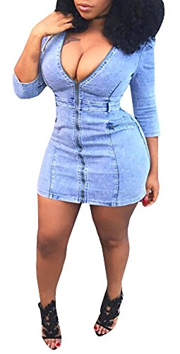 Plus Size Club Wear (Farktop Women's Sexy Front Zipper Light Blue Jeans Shirt Dress Night Club Denim Dress Plus Size)